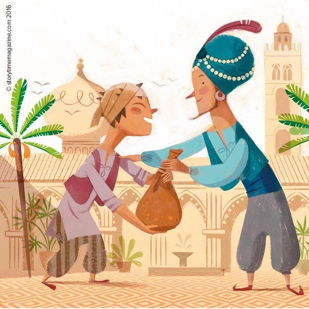 Heroic Sinbad shares his riches! Illustration by Sebastia Serra (http://sebastia-serra.blogspot.co.uk). Follow his adventures in Storytime Issue 17 ~ STORYTIMEMAGAZINE.COM