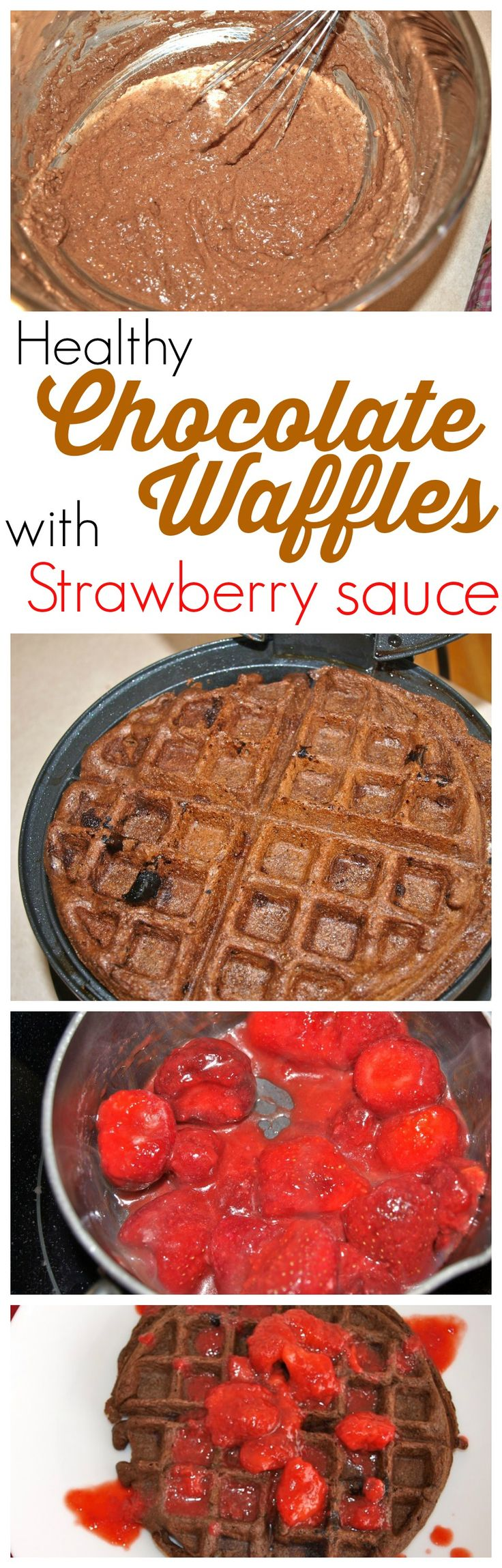All healthy food should taste this good! These healthy Chocolate Waffles with Strawberry Sauce are AMAZING! Fabulous healthy , clean-eating recipe.