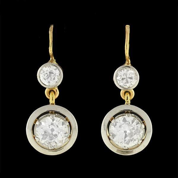 Edwardian 18kt/Platinum Mine Cut Diamond Drop Earrings 2.66ctw