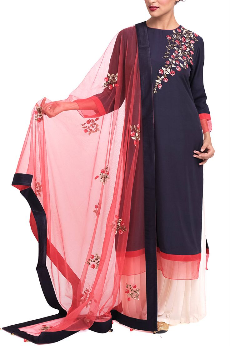 From Zainah by Pooja Khokha Arora | Cotton Silk kurta with rose embroidery| Pleated Pallazo INet dupatta with rose embroidery motifs