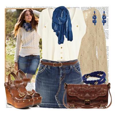 Темно синяя джинсовая юбка