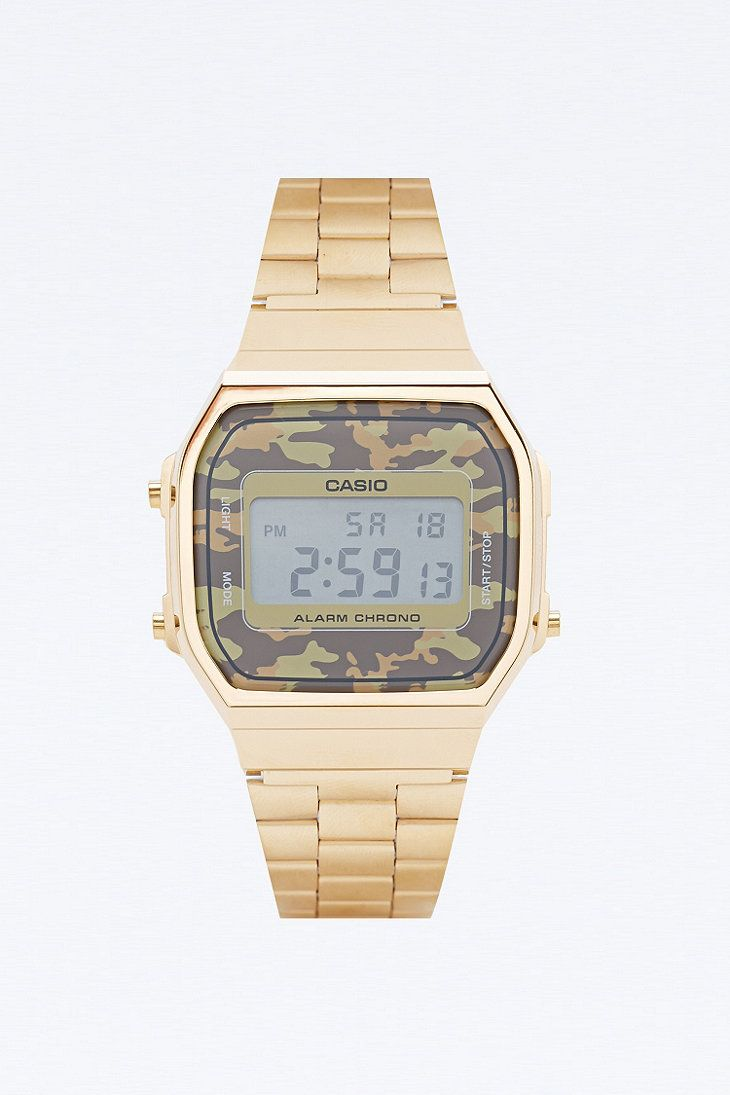 Casio Retro Camo Watch in Gold - Urban Outfitters