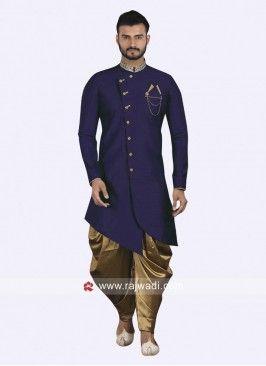 82e8a0648b6 Layered Blue Indo Western For Wedding Wedding Dress Men