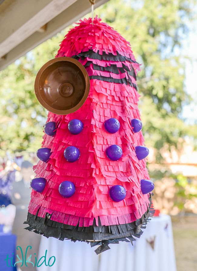Doctor Who Birthday Party: Part 3, the Fun and Games. Dalek pinata, wibbly wobbly obstacle course, glitter tattoos, and more!