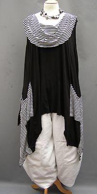 La Bass~ BLACK  stripe Asymmetrical Jersey Roll neck Tunic~ 20-26   eBay