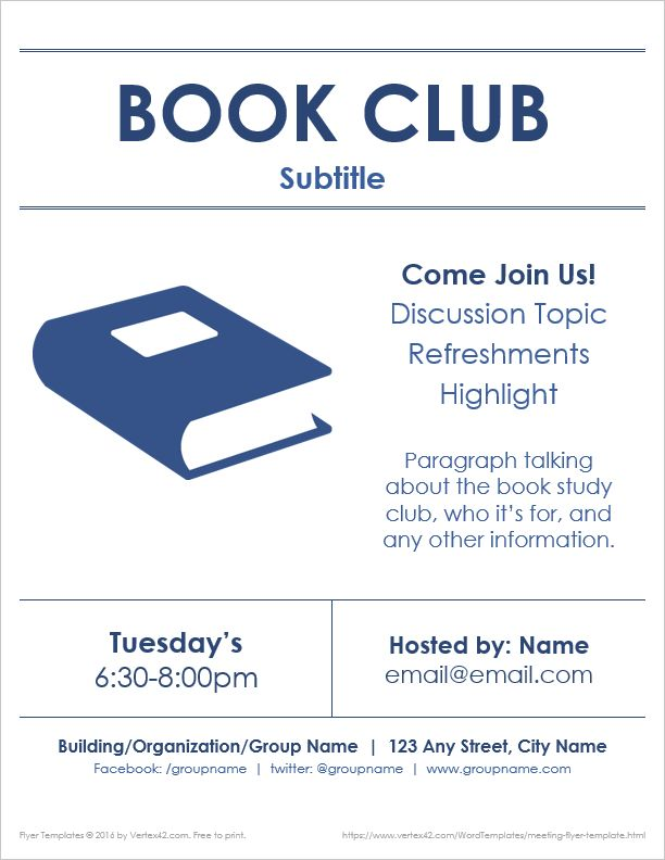 book club flyer samples