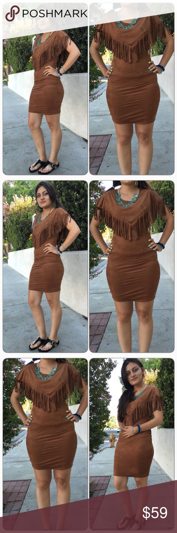 Fringe Fall Brown Mini Dress Looks exactly like the pictures. NWOT 📱Instgram: tavoosfashion 🌟Facebook: tavoosfashionjewelry 🎀 Website: www.tavoosfashionjewelry.com  ❌No Trade ❌No Pay Pal 🎀Price is Firm unless Bundled Dresses