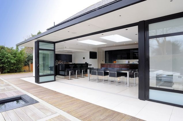 The vast majority of rear extensions are now built with folding doors. Don't be put of by the cost because if you didn't have wider doors you would be using a wall which costs even more to build than the double glazed folding doors...