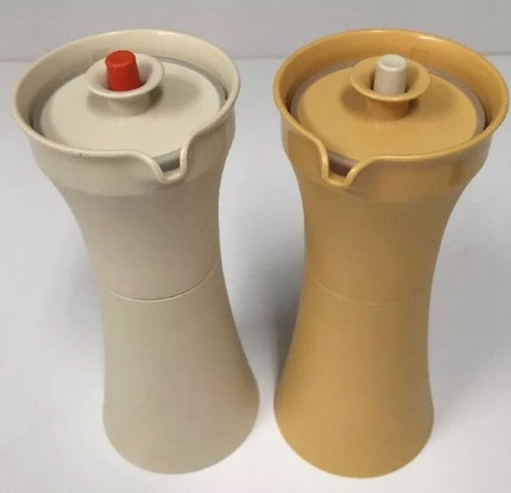 Tupperware Oil n Vinegar Cruets 1246 Harvest Gold and Ivory Container and Lids  | eBay
