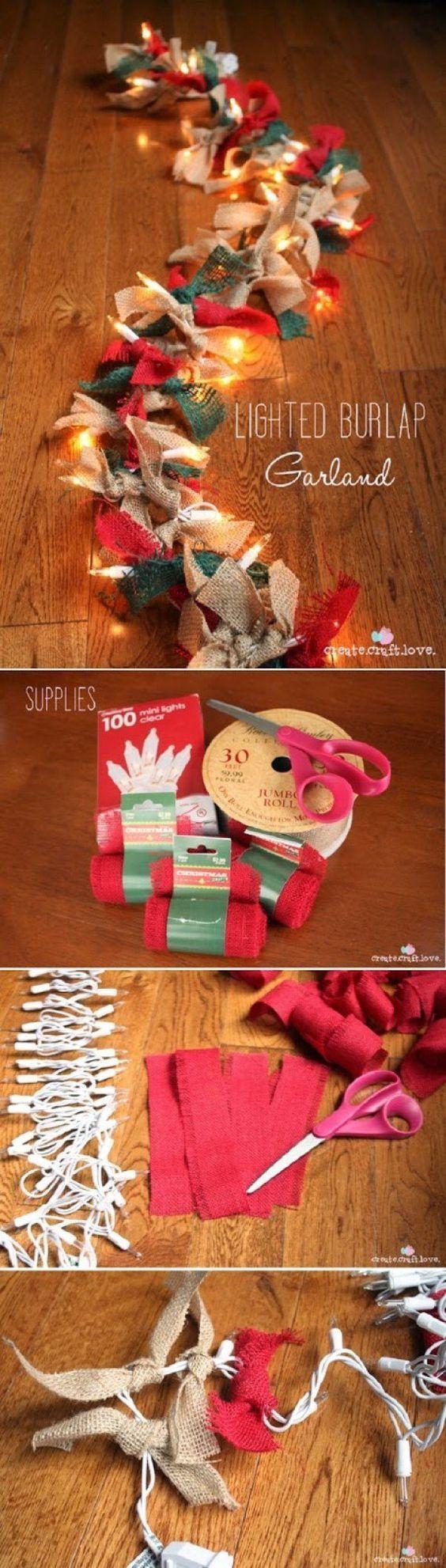 17 Creative and Stylish DIY for Christmas lights: 13. Lighted Burlap Garland - Diy & Crafts Ideas Magazine #christmaslightsdiy