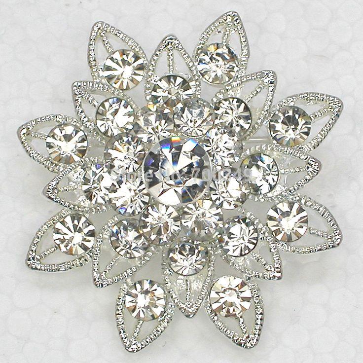 12 piece/lot посеребрение брошь прозрачный кристалл горный хрусталь свадебные свадьба ну вечеринку пром цветок булавка брошь C132 макияж-1