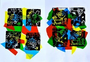 The designs, typically linear of Juan Miro, inspired us to realize our prints with styrofoam in...
