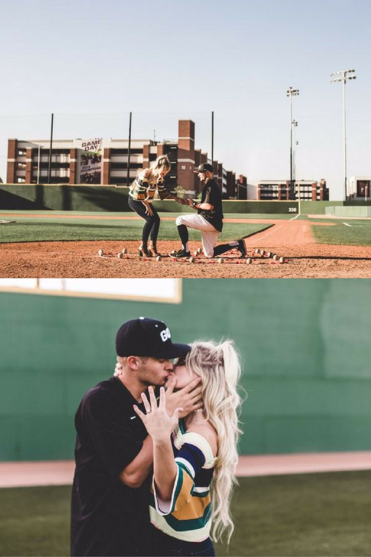 This baseball field proposal is literally the cutest. After she said yes, she looked into the stands to see their friends and family!