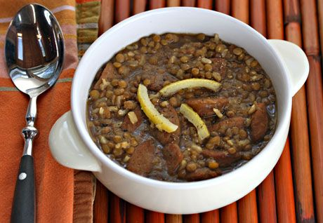 Lentil and brown rice soup with preserved lemons and garlic sausage (slow cooker), from The Perfect Pantry.