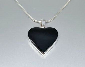 Check out Heart pendant Onyx set in Sterling silver with chain - gift idea - holiday season on gemorydesign