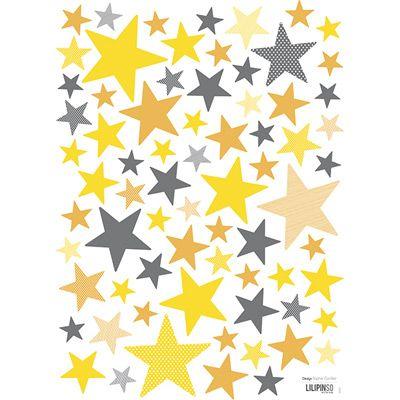 Lot stickers Etoiles jaunes et grises  - Lilipinso and Co