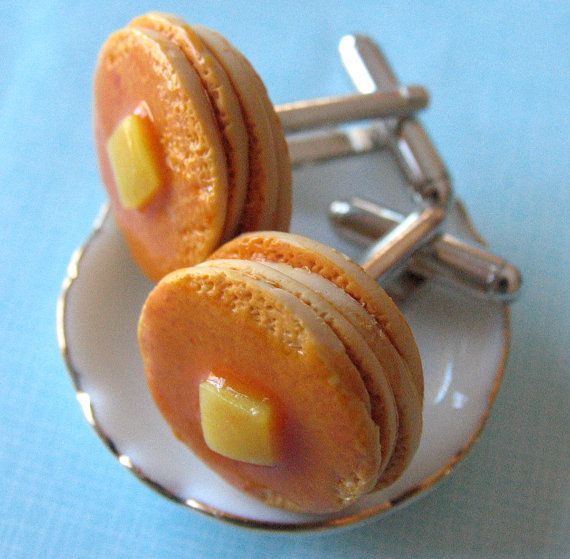 Stack of Pancakes  Food Cufflinks by MotherMayI on Etsy, $14.00