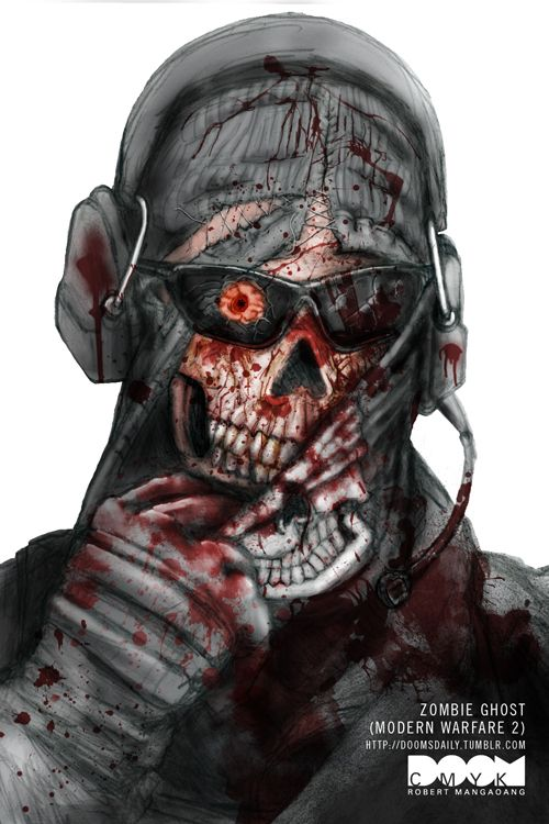 Awesome drawing of Ghost from Modern Warfare 2 (as a zombie). Artwork by Robert Mangaoang.