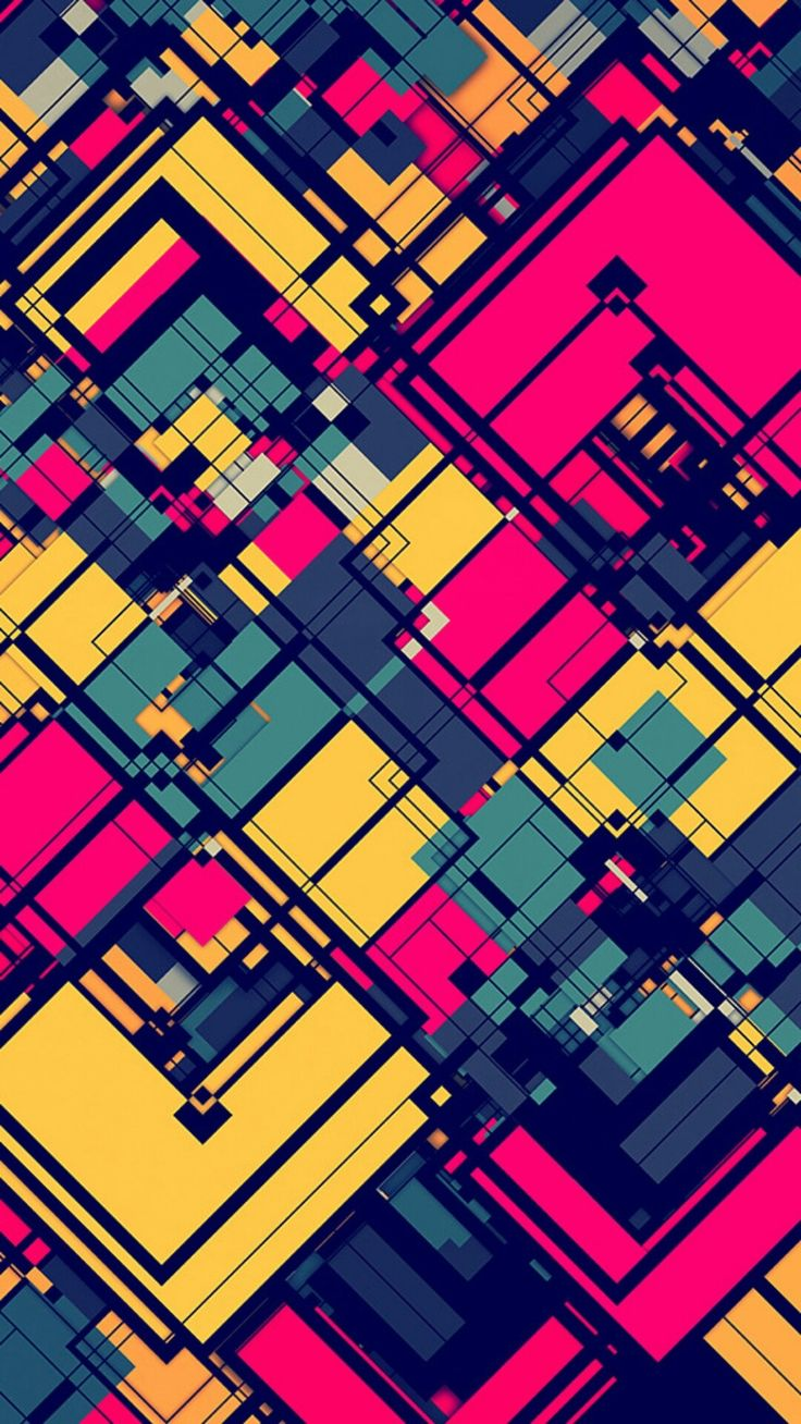 Pink and Yellow Abstract Grid Wallpaper