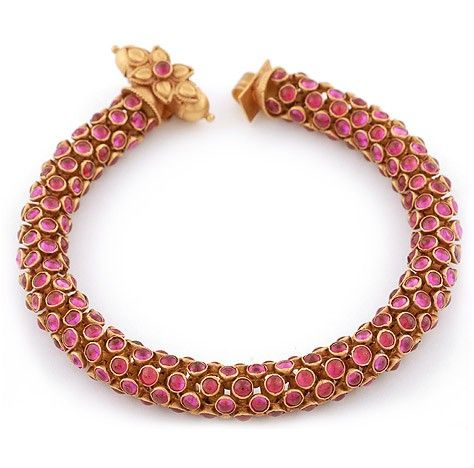 Antique Finished Ruby Bracelet - many of the antique bracelets and necklaces of a similar design are flexible, and extremely comfortable to wear