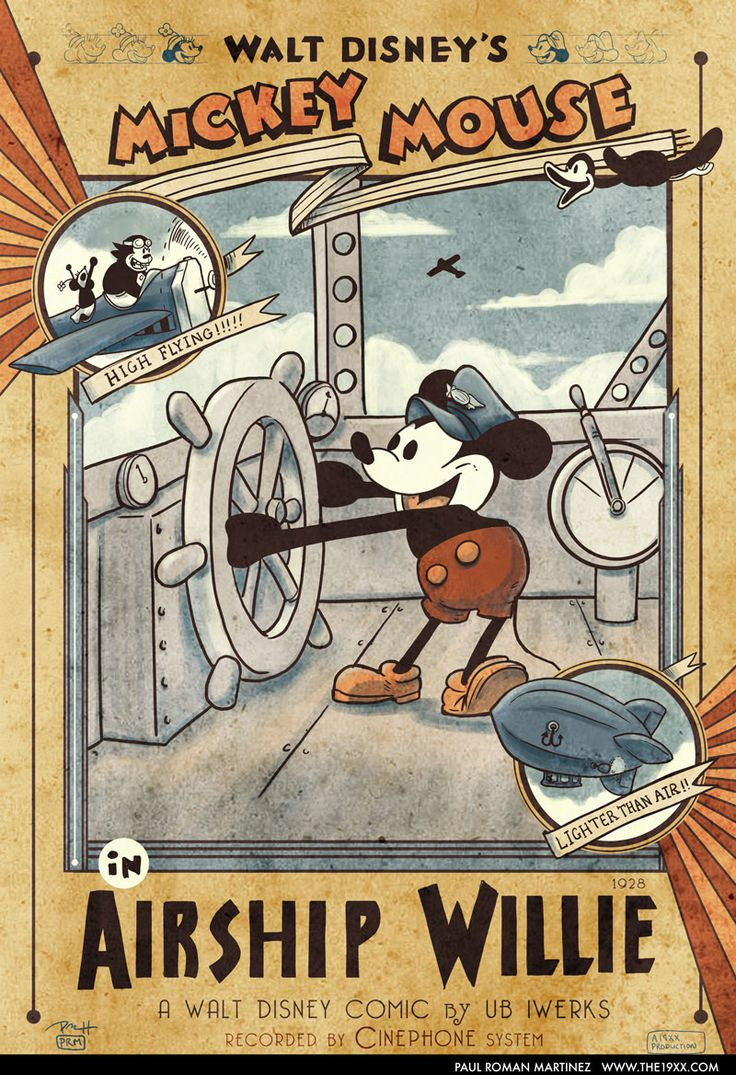 Vintage Mickey Mouse in Airship Willie Poster by PaulRomanMartinez.deviantart.com on @deviantART