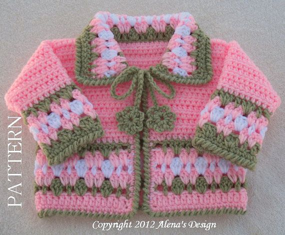 Crochet Pattern 045  Blossom Baby Jacket  3 6 12 by AlenasDesign