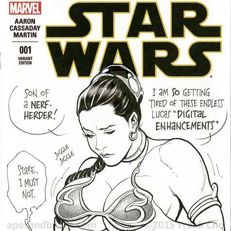 Frank Cho Star Wars Slave Leia Sketch Cover