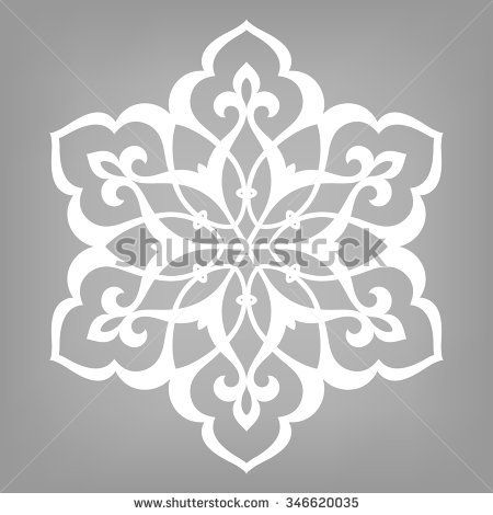 Six pointed circular pattern. Mandala. Round vector ornament on gray background in Arabic style.