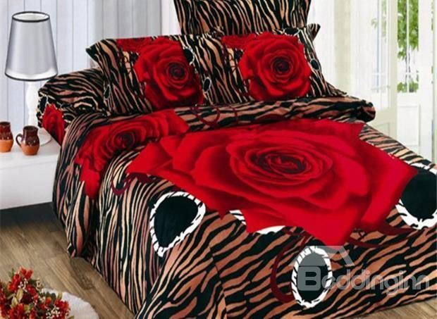 New Arrival Stunning Red Rose And Leopard Print 4 Piece Bedding Sets