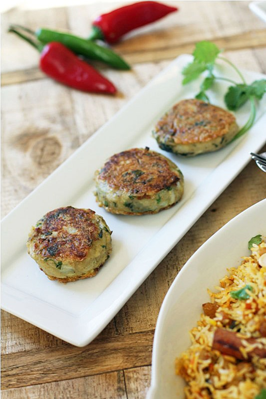 potato patties with cumin, coriander, lemon and mint.