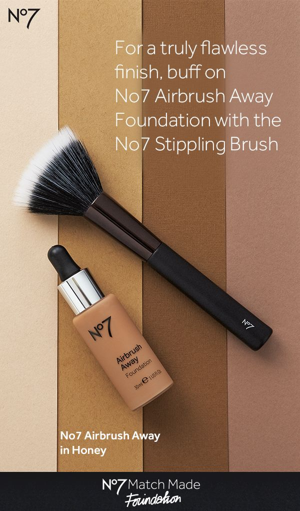 Gliding over the skin like liquid silk, Airbrush  Away Foundation delivers buildable coverage while  blurring the appearance of fine lines and pores, for  flawless and smooth looking skin in every light. Use  a stippling brush for best application results! Airbrush Away Foundation: $17.99 at @walgreens No7 Stippling Brush: $9.99 at @walgreens