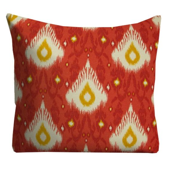 "Red Ikat Pillows, Outdoor pillows, 20"" x 20"" Throw Pillows, pillow covers, Red outdoor cushions, Kid Friendly Pillows, Pool Patio Pillows"