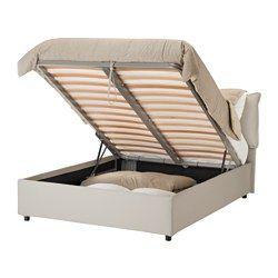 IKEA - GRESSVIK, Cadre lit coffre, , Se nettoie facilement car la housse est amovible et lavable en machine.Sommier à lattes pouvant être soulevé pour accéder à un espace de rangement.