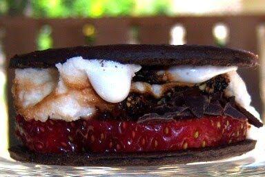 mores - chocolate cookies, dark chocolate, thick cut strawberries ...