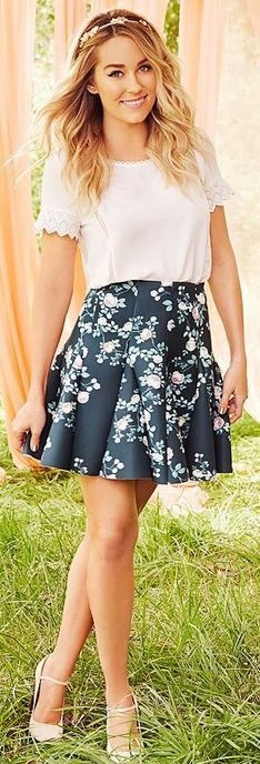 Who made  Lauren Conrad's white short sleeve shirt, green floral skirt, and pumps?