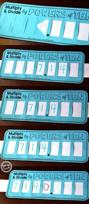"""YES! Love this visual representation of Multiplying and Dividing by Powers of Ten. Free """"place value sliders"""" that students can use to help visualize and understand the concept."""