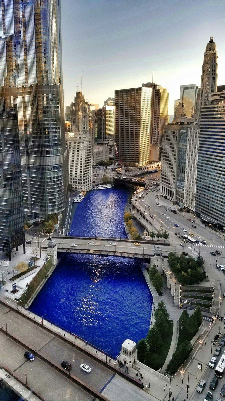 Chicago River dyed blue for the first time ever to Celebrate Chicago Cubs World Series Champions on Nov 4th, 2016.