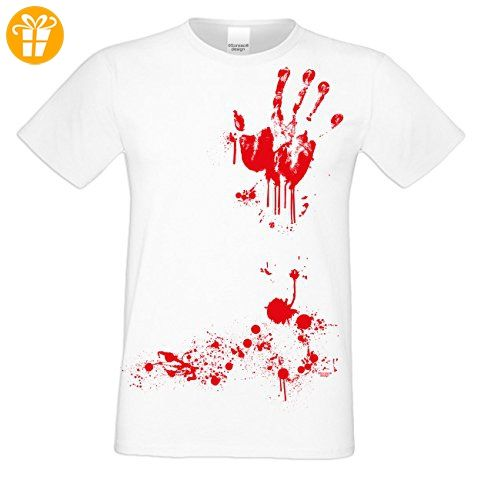 Herren-Halloween-Kostüm-Motiv-T-Shirt auch in Übergrößen 3XL 4XL 5XL Blutige Hand cooles Party Outfit Farbe: weiss Gr: L (*Partner-Link)
