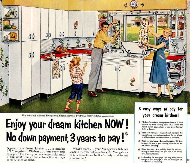 Vintage Youngstown Kitchen ad, via Flickr. Repinned by