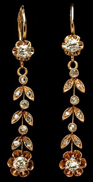 Art Nouveau antique Russian gold and diamond earrings, 1908-1917.