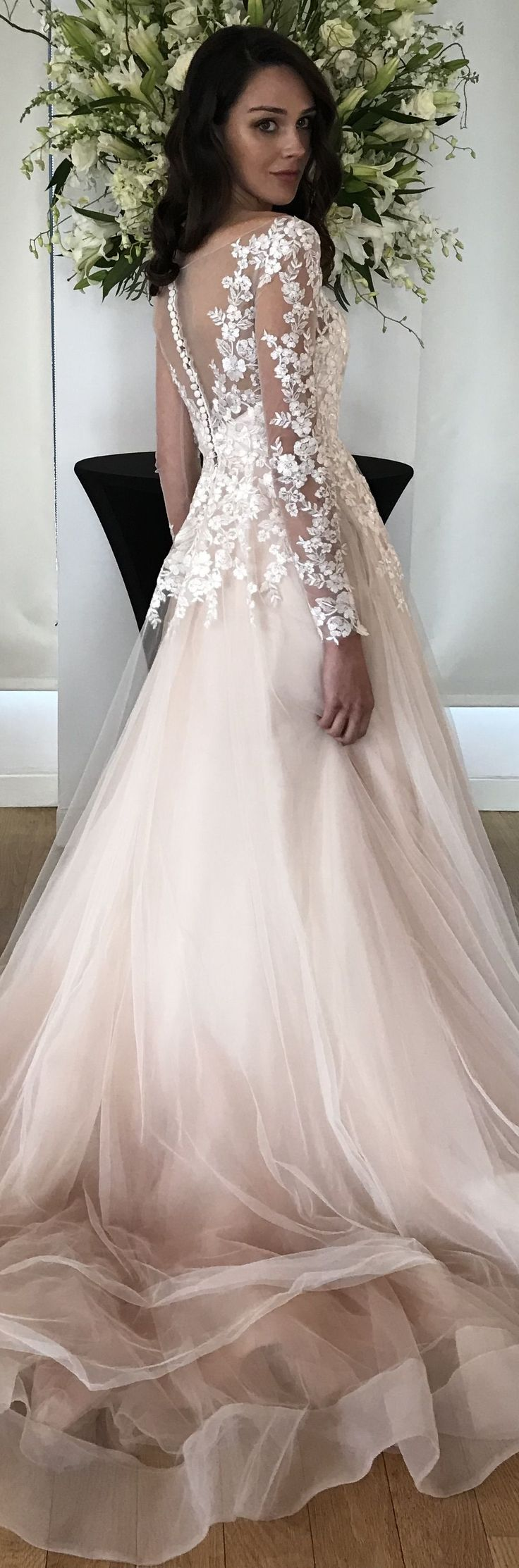 Alba wedding dress by Kelly Faetanini in Blush // Beaded, embroidered long sleeve illusion ombre ball gown with horsehair hem and pockets
