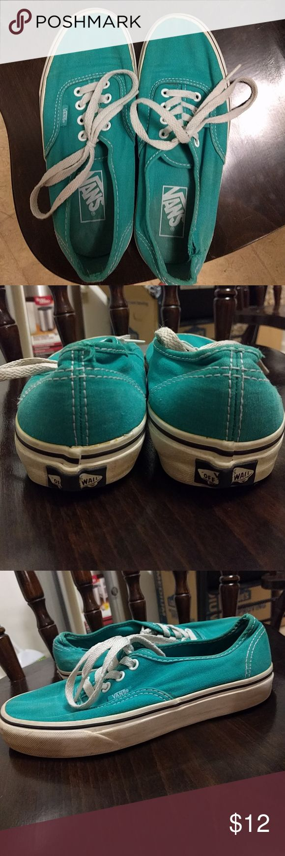 Teal Vans Used pair of Vans, slight wear and tear but still in great shape! Mens size 6, women's size 7.5 Vans Shoes Sneakers