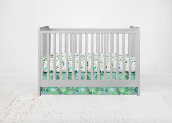 Straight Crib Skirt Emerald Quatrefoil. Green Crib by SuiteBaby