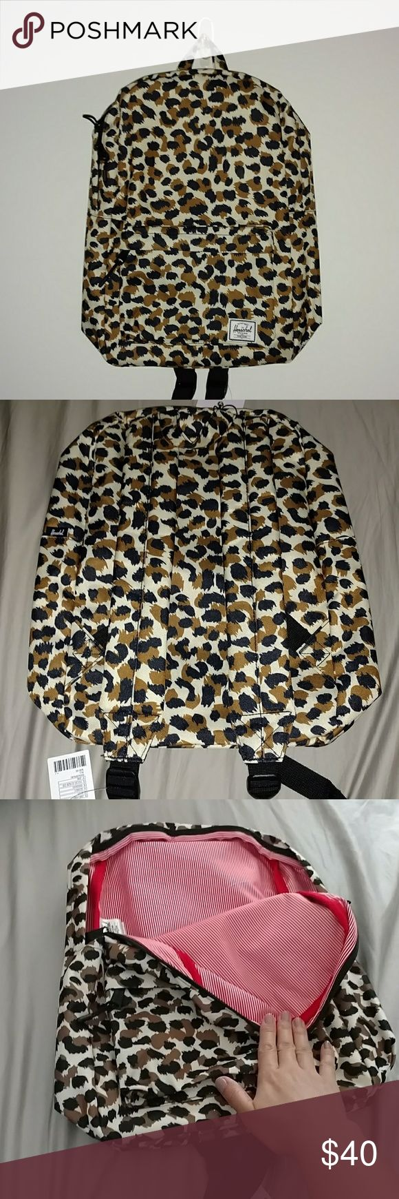 """Herschel Leopard Classic Mid-Volume Backpack This bookbag is from Herschel. It's brand new with tags. Bought, then changed mind about it, and went with all black. 16.5"""" H x 11"""" W x 4.75"""" D. 18L. Herschel Supply Company Bags Backpacks"""