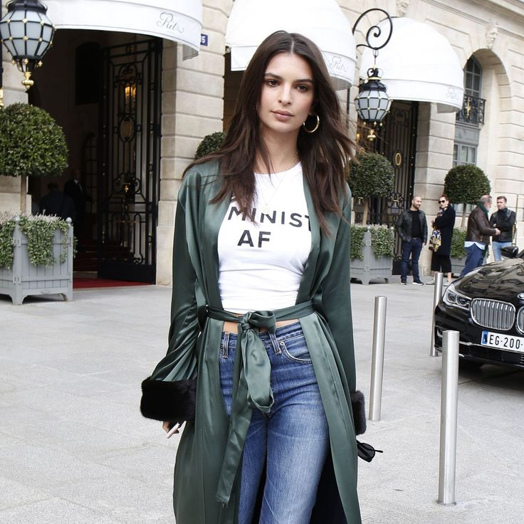 """Emily Ratajkowski was spotted in her Feminist AF T-shirt from Jonathan Simkhai. All profits from sales of the T-Shirt will go to Planned Parenthood and Women for Women International. Shop: [link url=""""http://www.glamourmagazine.co.uk/gallery/feminist-tshirts""""]Feminist T-Shirts[/link]"""