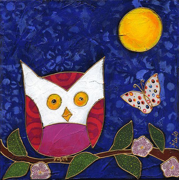 La chouette et le papillon par Isabelle Malo • Acrylique sur toile et collage • Mixed media • Folk art • www.isamalo.com • Artiste peintre du Québec • Art naïf
