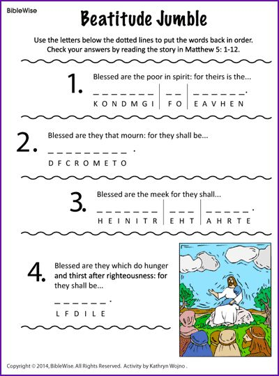 Beatitude Jumble (Puzzle) - Kids Korner - BibleWise