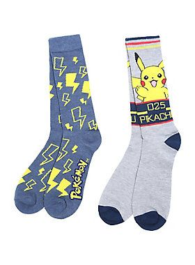 """Knit crew socks from <i>Pokemon </i>featuring<i> </i>Pikachu themed designs - one pair with an awesome Pikachu character design and one pair with yellow bolts. We choose these socks!<br><ul><li style=""""list-style-position: inside !important; list-style-type: disc !important"""">One size fits most</li><li style=""""list-style-position: inside !important; list-style-type: disc !important"""">98% polyester; 2% spandex</li><li style=""""list-style-position: inside !important; list-style-type: disc…"""