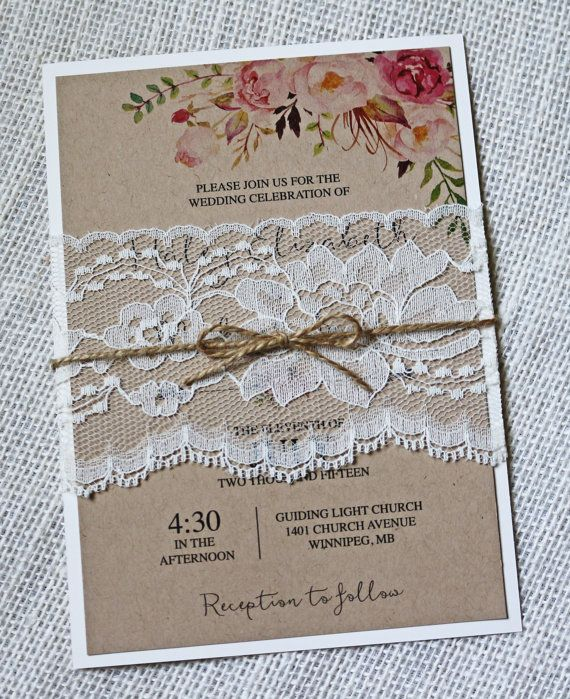 Boho Wedding Invitation Rustic Wedding by LoveofCreating on Etsy                                                                                                                                                                                 Mais