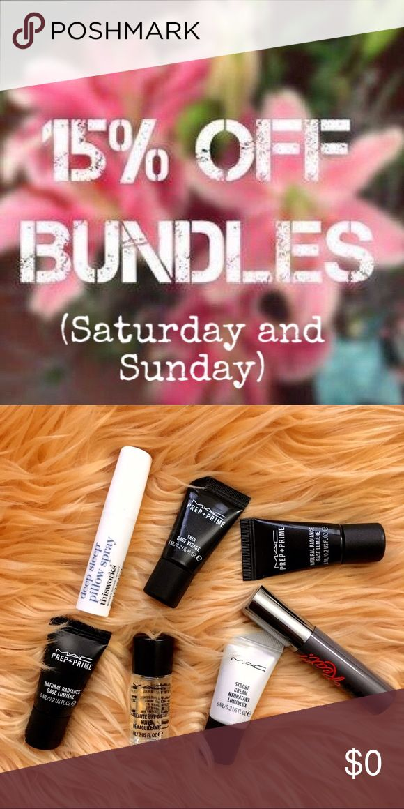 Free Gift + %15 off Bundles this weekend Save more this weekend plus receive an extra sample goodie with your purchase. The MAC samples are 1st come, first serve. Happy Poshing! MAC Cosmetics Makeup Face Primer